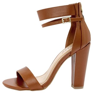 Bamboo Chunky Heel Chestnut Brown Sandals
