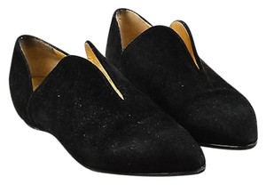 Walter Steiger Metallic Gold Suede Leather Pointed Black Flats
