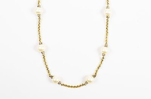 Chanel Vintage Chanel Gold Tone Metal Faux Pearl Crystal Strand Necklace