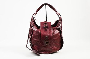 Balenciaga Burgundy Leather Shrug Hobo Bag