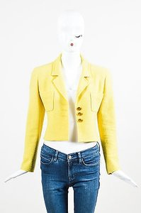 Chanel Vintage Boutique Tweed Cc Button Cropped Structured Yellow Jacket