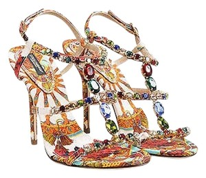 Dolce&Gabbana Silk Print Jeweled Strappy Multi-Color Sandals