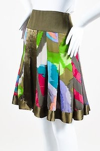 Etro Army Green Multicolor Skirt Multi-Color