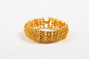 Sarah Coventry Vintage Sarah Coventry Gold Tone Metal Pindot Textured Hinged Statement Bracelet