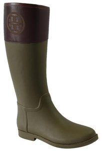 Tory Burch Rainboot Rubber Leather Olive / Almond Boots