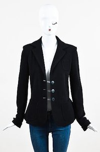 Armani Collezioni Armani Collezioni Black Ribbed Knit Button Up Long Sleeve Blazer Jacket