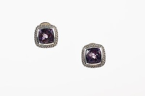 David Yurman David Yurman Sterling Silver Amethyst Stone Diamond Cable Albion 11mm Earrings