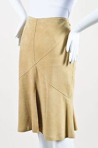 Valentino Suede Leather Skirt Tan