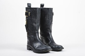 Tory Burch Pebbled Black Boots