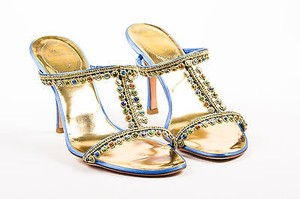Rene Caovilla Blue Satin Multi-Color Sandals