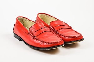 Tod's Tods Leather Square Toe Red Flats