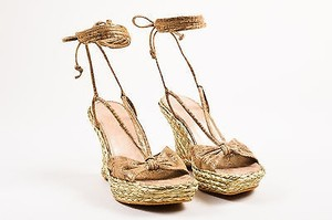 Stuart Weitzman Golden Tan Braided Espadrille Ankle Wrap Wedge Beige Sandals