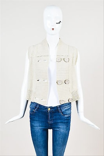 8b5231c28c6bc7 new Chloé Chloe Mastic Cream Wool Double Breasted Oversize Button Cropped  Vest