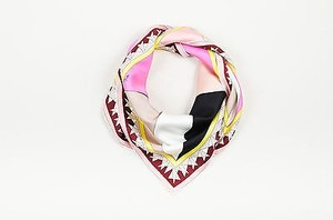 Emilio Pucci Emilio Pucci Pink Yellow Red Tan Silk Geometric Print Square Scarf