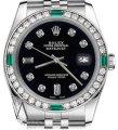 Rolex Rolex 36mm Datejust Black Color Dial 8+2 Emerald Diamond Accent Image 0