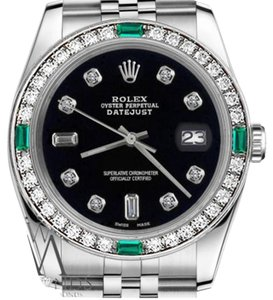 Rolex Rolex 36mm Datejust Black Color Dial 8+2 Emerald Diamond Accent