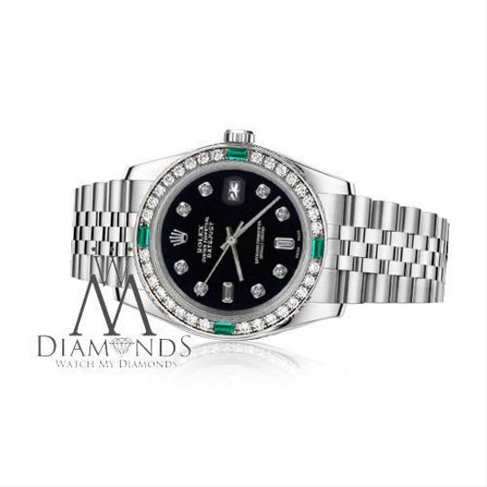 Rolex Rolex 36mm Datejust Black Color Dial 8+2 Emerald Diamond Accent Image 2