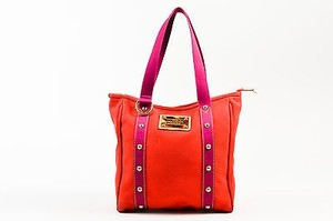 Louis Vuitton Fuchsia Gold Studded Canvas Antigua Cabas Tote in Red