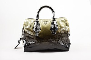 Prada Olive Black Patent Leather Ombre Sfumato Satchel in Green