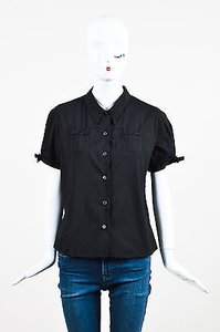 Prada Poplin Button Top Black
