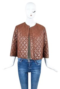 Brunello Cucinelli Leather Snap Cropped Quilted Brown Jacket