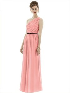 Alfred Sung Apricot with Black Belt Chiffon Knit D653 Retro Bridesmaid/Mob Dress Size 8 (M)