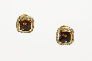 David Yurman David Yurman Citrine 18k Gold Diamond Albion Collection Square Earrings