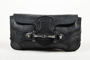 Gucci Leather Lizard Embossed Rhinestone Horsebit Pouch Black Clutch