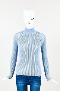 Céline Periwinkle Ribbed Knit Turtleneck Long Sleeve Sweater