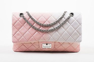 Chanel White Leather Ombre Degrad Reissue 227 Jumbo Double Flap Shoulder Bag