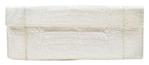 Nancy Gonzalez Pearlized Crocodile Rectangular White Clutch