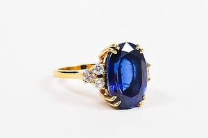 Fantasia By Deserio Blue Gold Plated Sterling Silver Cubic Zirconia Ring