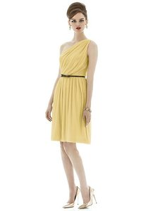 Alfred Sung Maize with Midnight Navy Belt Chiffon Knit D652 Retro Bridesmaid/Mob Dress Size 12 (L)