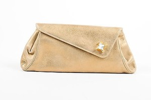Judith Leiber Leather Bronze Clutch