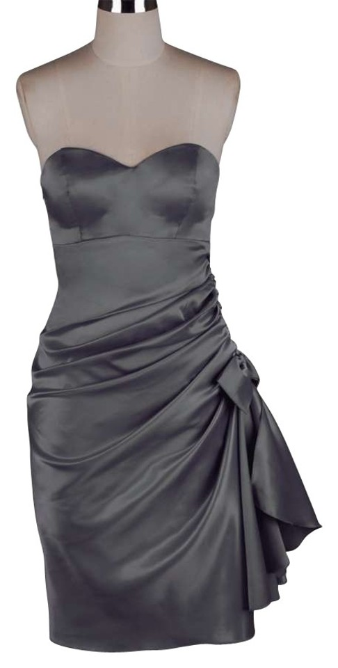 Gray Bunched Bow Satin Short Formal Dress