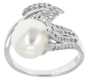 Elle Cross Budding Vine Bypass Pearl Pave White Topaz accents Ring