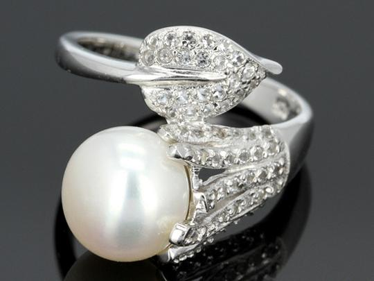 Elle Cross Budding Vine Bypass Pearl Pave White Topaz accents Ring Image 1