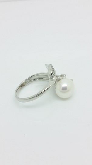 Elle Cross Budding Vine Bypass Pearl Pave White Topaz accents Ring Image 3