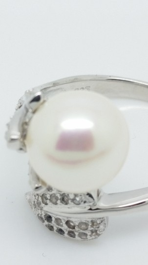Elle Cross Budding Vine Bypass Pearl Pave White Topaz accents Ring Image 4
