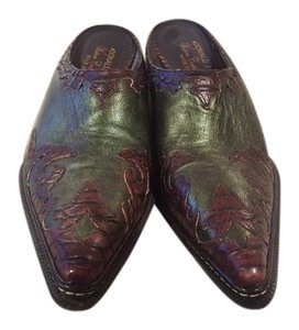 Donald J. Pliner Leather Mule Designer Green/Brown Boots