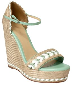 Gucci 370496 Espadrille Natural / Green / White Wedges