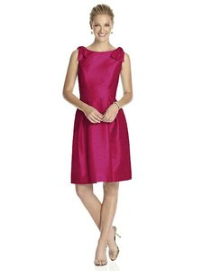 Alfred Sung Sangria Pink Red Dupioni D626 Modern Bridesmaid/Mob Dress Size 10 (M)
