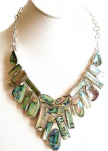 Gorgeous Abalone Hand-Made 925 Sterling Silver Statement Necklace