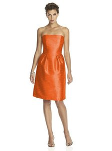 0a7562dee7 Alfred Sung Burnt Orange Dupioni D614 Modern Bridesmaid Mob Dress Size 8 (M)