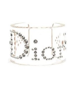 Dior Vintage Christian Dior 1980's Clear Lucite and Swarovski Crystal Cuff Bracelet