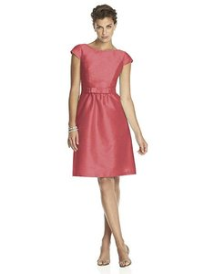 Alfred Sung Candy Coral Dupioni D568 Traditional Bridesmaid/Mob Dress Size 8 (M)