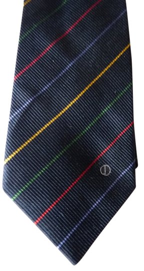 Alfred Dunhill Alfred Dunhill striped navy silk logo tie