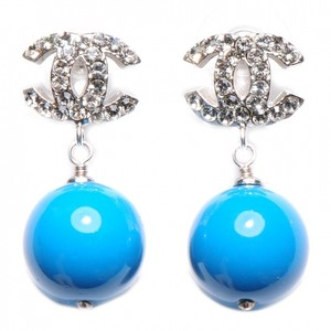Chanel Chanel Earrings Cc Logo Blue Stone Swarovski Crystal silver Dangle Drop Pearl Ball Large Jumbo 07A