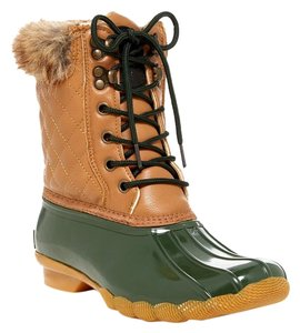 Artic Plunge Faux Fur Rubber Tan and Green Boots