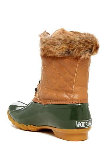 Artic Plunge Faux Fur Rubber Tan and Green Boots Image 1
